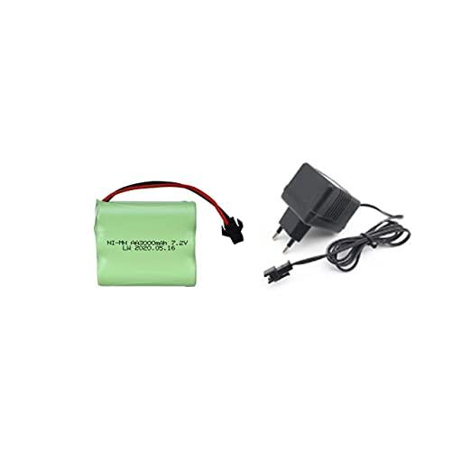 7,2 V 3000 mAh NI-MH-Batterie für ferngesteuerte elektrische Spielzeugboot-Auto-LKW 7,2 V 2400 mAh AA nimh Akku (Color : Red)