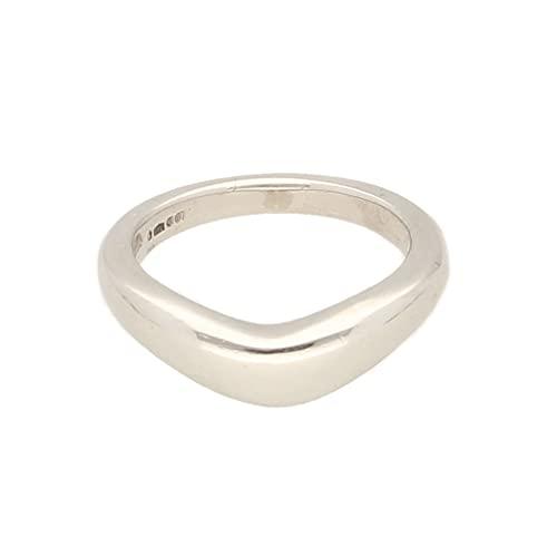 Anillo de oro de platino 950 para mujer (talla G), 4 mm de ancho, anillo de lujo para mujer