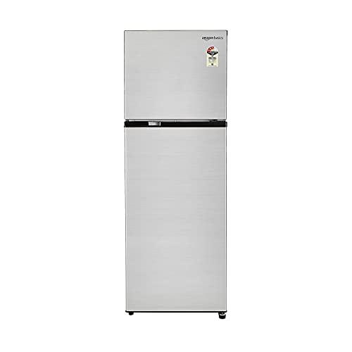 Amazon Basics 335 L Frost Free Double Door Refrigerator, Silver