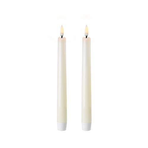 Piffany Copenhagen Uyuni Lighting Taper - Juego de 2 velas LED (2,3 x 20 cm, cera auténtica, función de temporizador de 6 horas, sin riesgo de incendio, sin hollín ni olor