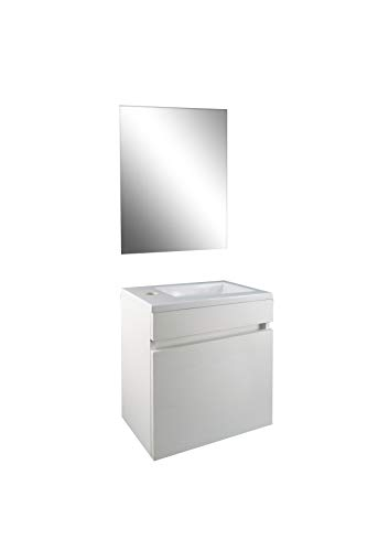 STARBATH PLUS Conjunto Mueble de Baño Suspendido MDF Lavabo Resina Espejo (Blanco, 40 x 22 cm)