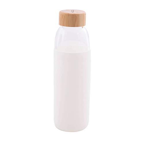Point-Virgule - Botella de cristal de borosilicato con tapa de bambú a prueba de fugas, reutilizable, 580 ml, color blanco