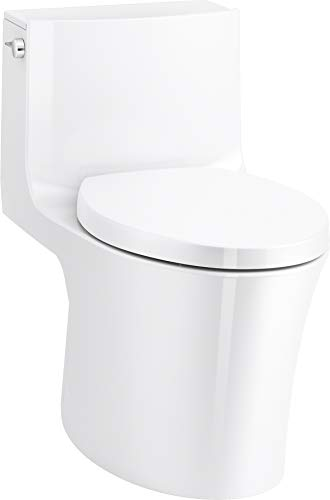 KOHLER Veil One-Piece Skirted Toilet, Dual Flush, Elongated Bowl, Skirted Trapway, White, Slow Close Seat, Seat Included, K-1381-0