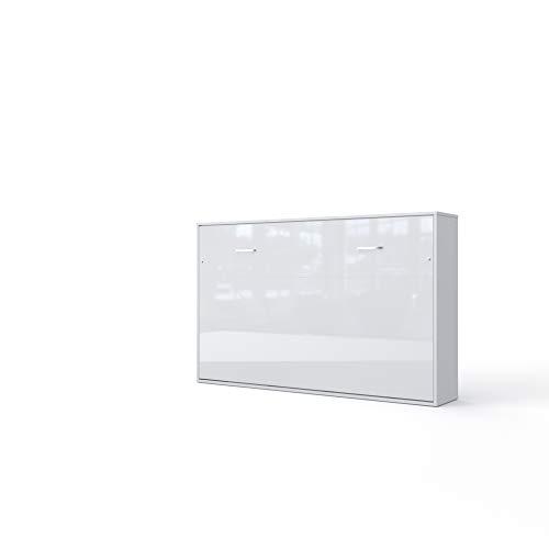 Invento Schrankbett Wandklappbett Horizontal Wandbett Bettschrank Funktionsbett Gästebett Klappbar Schrank mit integriertem Klappbett Gästezimmer Wohnzimmer Schlafzimmer 120x200 (Weiß/Weiß Glanz)