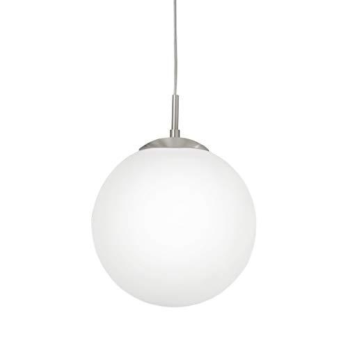 EGLO Pendellampe Rondo, 1 flammige Pendelleuchte, Hängeleuchte aus Stahl, Farbe: Nickel matt, Glas: Opal matt weiß, Fassung: E27, Ø: 30 cm