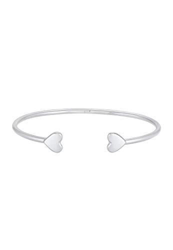 Elli PREMIUM Armband Damen Armreif Offen Herz Symbol Liebe Minimal Basic aus 925 Sterling Silber