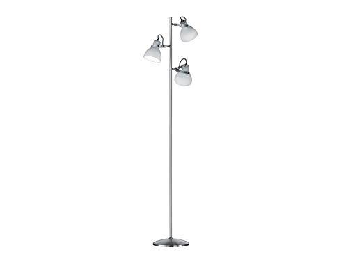 Moderne led-vloerlamp in mat nikkel met 3 witte glazen spots draai- en zwenkbaar, 150 cm hoog