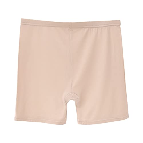 ZDJH Pantalones cortos para mujer, de encaje, de un solo color, elásticos, de cintura alta, con control de abdomen, para yoga, fitness, pantalones de seguridad, beige, S