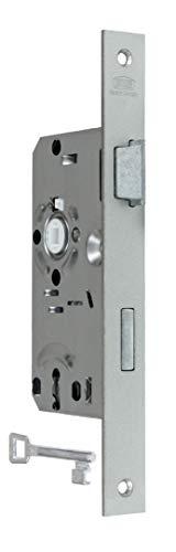 BKS Standard Zimmertürschloss/Türschloss mit Buntbart 55/72/8, Stulp: 24 x 235mm eckig für stumpfe Türen, DIN Rechts incl. SN-TEC® Montageset