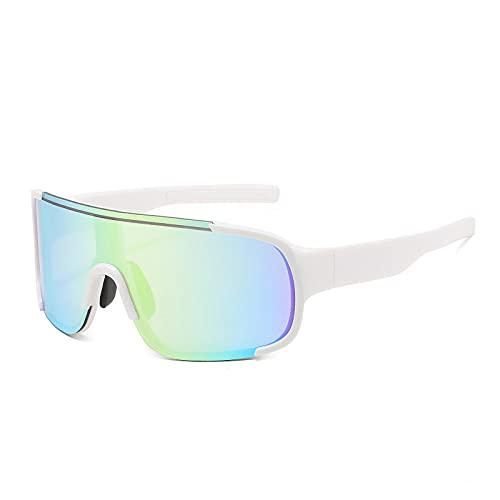 QWKLNRA Gafas De Sol para Hombre Montura Blanca Lente Verde Gafas De Sol Deportivas Polarizadas Gafas De Sol De Montar A La Moda Gafas De Mujer Gafas De Hombre con Parte Superior Plana Mujer Windpro