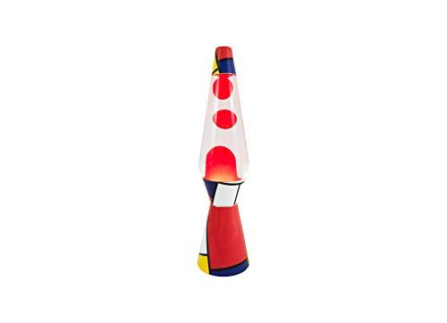 Fisura Lavalamp Bullet Mondrian Magma 40 cm Flüssigkeit Metall und Glas
