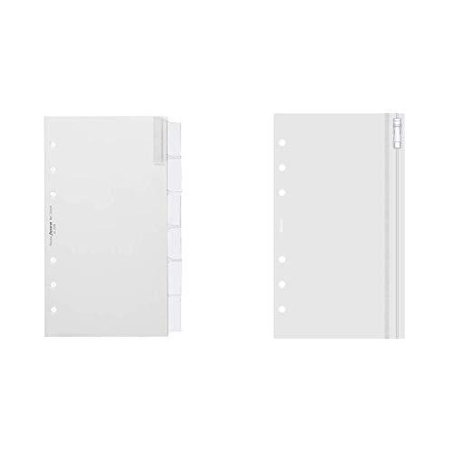 Filofax 131624 Blankoregister mit farbigen Tabs, weiß & Filofax 133618 Personal Klarsichttasche mit Reißverschluss