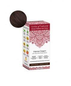 Tints of Nature, Semi-Permanent Henna Cream Hair Colour - Dark Brown, 95% Natural, Vegan, and Cruelty Free, Single