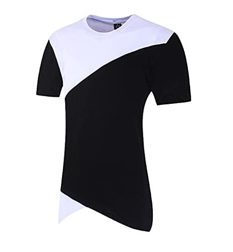 Streetwear Hombres Slim Fit Básico Cuello Redondo Manga Corta Hombres T-Shirt Empalme Verano Contraste Color Irregular Hombres Shirt Tendencia Creativa Hombres Shirt Ocio