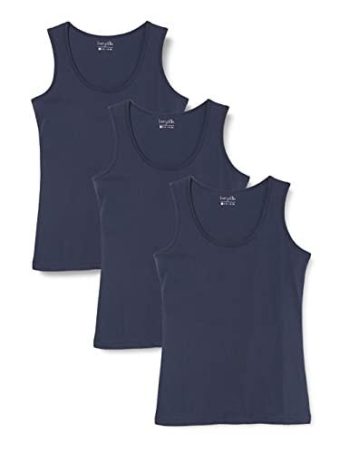 Berydale Camiseta sin mangas de mujer, pack de 3, Navy, XS
