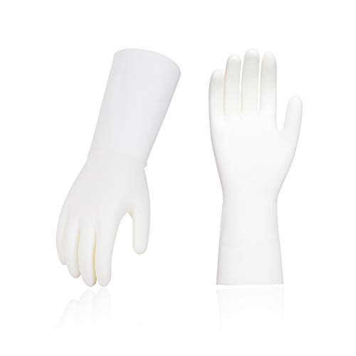 Vgo 10-Pairs Reusable Household Gloves, Nitrile Dishwashing Gloves, Long Sleeves, Kitchen Cleaning, Working, Painting, Gardening, Pet Care (Size M, White/Green, NT2141)