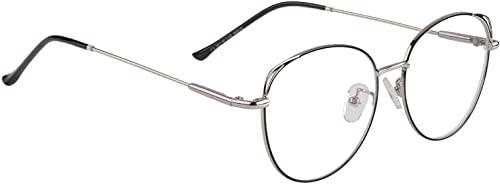 OOTO Blaulichtfilter Brille Bildschirmbrille Anti Müdigkeit Lesebrille Pc Gaming Bluelight Filter Uv Blockieren Blaue Licht Glasses Damen Metallgestell Brille-Silber