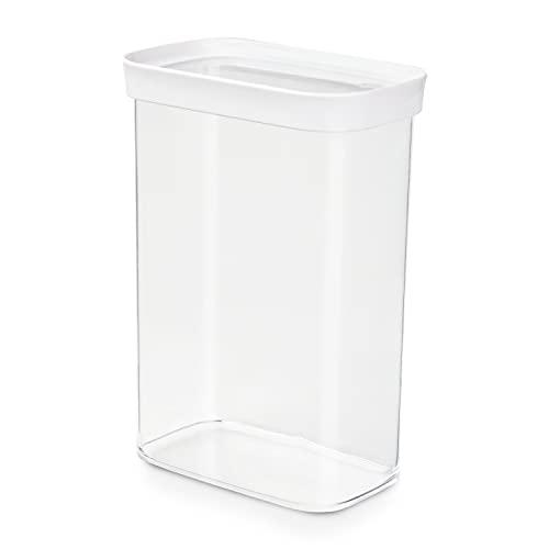 EMSA 513559 Vorratsdose Optima   Für Trockenvorräte   2,20 L   Stapelbar   Rechteckig   100 % keimfrei   Frische-Dichtung   100 % Sicher   Weiß/ Transparent