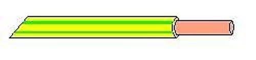 TM: H07V-U 1,5mm² Einzelader PVC Aderleitung 100 m, Farbe: grün/gelb - 0,14€/m.