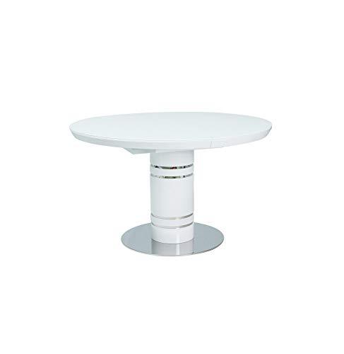 Stół STRATOS rozkładany okrągły biały 120x120(160) Signal