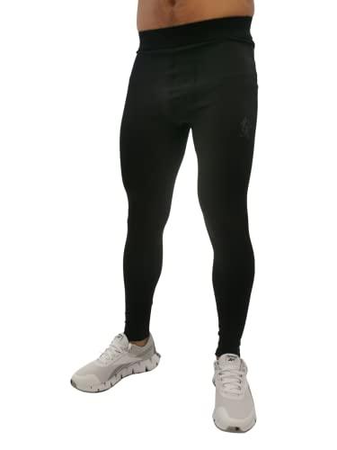 Gym King Men's Leggings Tempo Running Active Pant Fashion Casual Style LEG-B24GN (L/Waist 89-97 cm) Black