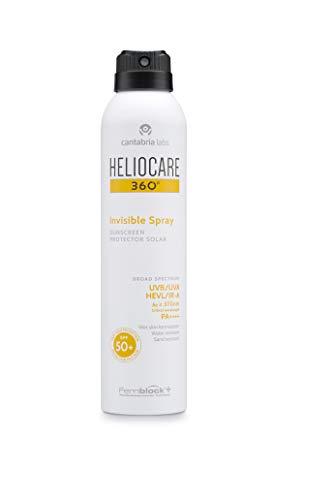 Heliocare 360º Invisible Spray SPF 50+ - Spray Solar Corporal, Transparente, Refrescante, Eficaz sobre Piel Mojada, Muy Alta Protección, Hipoalergénica, 200ml