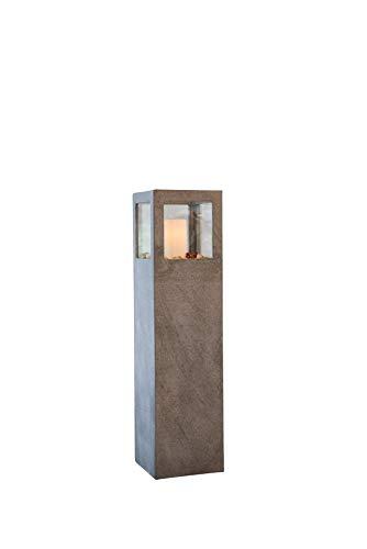 Vivanno Windlichtsäule Windlicht Kerzenhalter Fiberzement Lanterna 100 cm hoch Grau