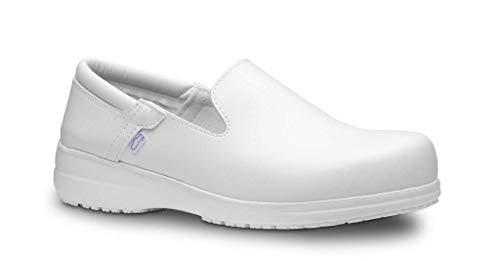Feliz Caminar - Zapatos antiestáticos Sensai con Inserto en el talón y Plantilla antiestáticas Que evitan chispazos/Antideslizante para Hospital, Geriátricos/Anatómicos(Blanco-39)