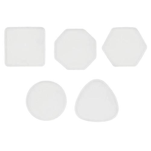 SODIAL Stampi per Sottobicchieri DIY nel Resina, 5PZ Stampi per Sottobicchieri nel Resina per Sottobicchieri nel Resina Epossidica Stampo per Colata di Resina per La Decorazione Domestica