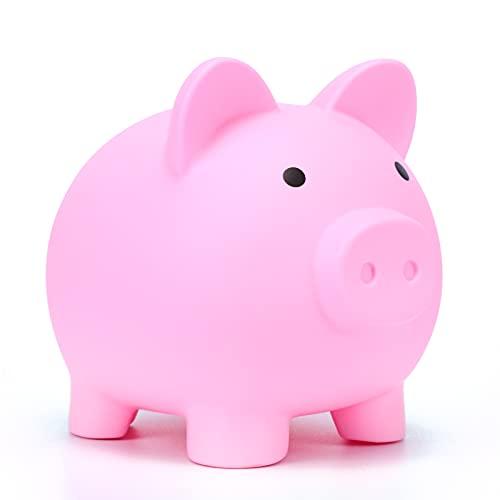 Bonita hucha de plástico irrompible, irrompible, banco de monedas para niños y niñas, juguete para guardar monedas, dinero (Rosa)
