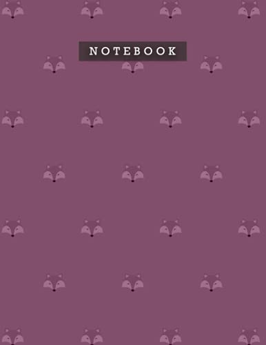 Notebook Tyrian Purple Color Cute Smile Foxes Patterns Cover Lined Journal: 21.59 x 27.94 cm, Meal, Planning, 110 Pages, Do It All, Weekly, A4, Diary, Personal, 8.5 x 11 inch