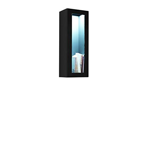 Hängevitrine Vigo, Horizontale oder Vertikale Montage, Hängeschrank, Wandschrank mit 1 Tür, Schrank, Wohnzimmerschrank, Grifflose,