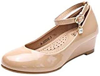 LAROSA ROSE Litte Girls Mary Jane Low Wedges Pumps Shoes (LA-JODIE03)