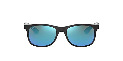 Ray-Ban Junior Unisex-Kinder 9062s Sonnenbrille, Schwarz (Matte Black On Black/Flashblue), 48