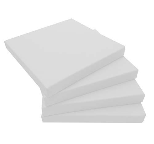ECOPELLE Bianco Cuscino da Giardino per Esterni mis.50X50X sp. 5 cm Set di pz.4 Universale per Poltrona,Salotto,SALOTTINO,Divano,DIVANETTO Rattan/MIDOLLINO Tessuto IDROREPELLENTE - Made in Italy-