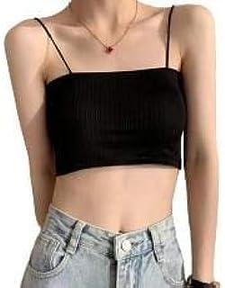 Davina Fashions women's spaghetti strap bandaeu tank top wirefree basic removable padded tank bra free size 26-34 bust size