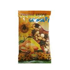 Coctel frutos secos; cacahuete, garbanzo, almendra, nueces, uvas pasas, piña y pomelo deshidratado. Pack de 10 bolsas x 150 gr