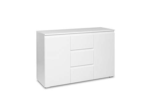 Newfurn Sideboard Kommode Modern Anrichte Highboard Mehrzweckschrank II 120x80x 40 cm (BxHxT) II [Nikita.Eight] in weiß/Weiß Wohnzimmer Schlafzimmer Esszimmer