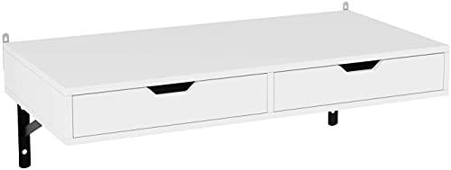 Mesa de Pared Estante de Pared Mesa Escritorio Mesa Ordenador Escritorio con 2 Cajones para Oficina Estudio Comedor Blanco 80x40cm