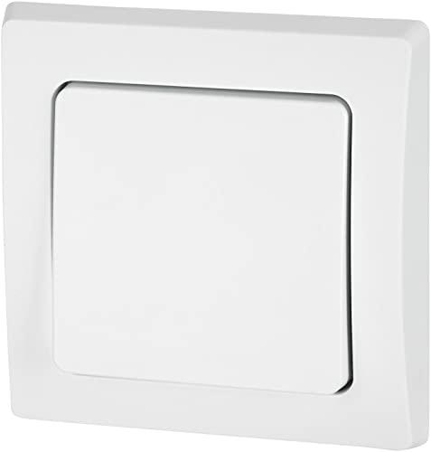 UP - Interruptor de conmutación IP44 para entornos húmedos (todo en uno, marco + inserto + cubierta + anillo de silicona, C1), color blanco