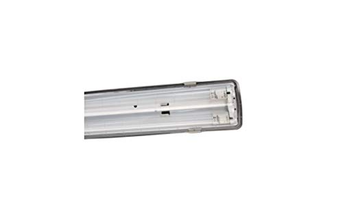 Beghelli Lampada Plafoniera, Reglette Stagna, Tubi Led Neon 2 x 58W, Luce Fredda 6500K, In acciaio, 72006
