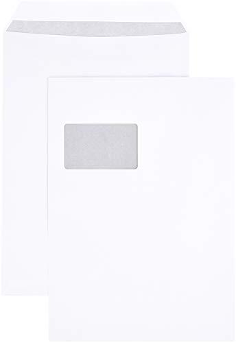 Amazon Basics - Versandtasche mit Sichtfenster, C4 (229x324 mm), selbstklebend, Weiß, 90 g/m², 250 Stück