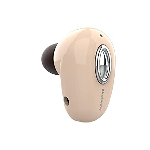 Auriculares Bluetooth, auriculares intraurales, ligeros, inalámbricos, Bluetooth 4.1, con graves profundos, resistentes al agua, cancelación de ruido, con micrófono (beige)