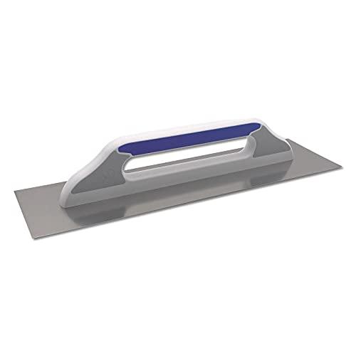 DEWEPRO® Schweizer Glättekelle Glättkelle - Aufziehplatte - Aufziehglätte - Traufel - Edelstahl 480x130mm - glatt - hochwertiger 3-K-Griff