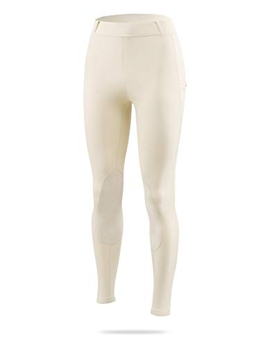 BALEAF Women's Horse Riding Pants Equestrian Breeches Tights Belt Loops Pockets Knee-Patch Active Legging UPF50+ Khaki XS