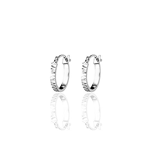 DelPia - Pendientes de aro de oro blanco 750 con acabado diamantado, 13 mm, para mujer de alta calidad