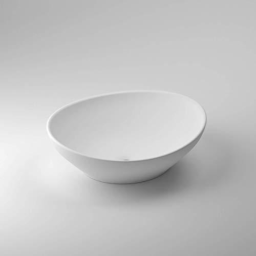 Luxuriöse Aufsatzwaschbecken | Waschbecken | Waschschale | Mineralguss/Gussmarmor/NORWAYstone | Matt Weiß | Klein | Eckig | Oval | Rund (Milano)