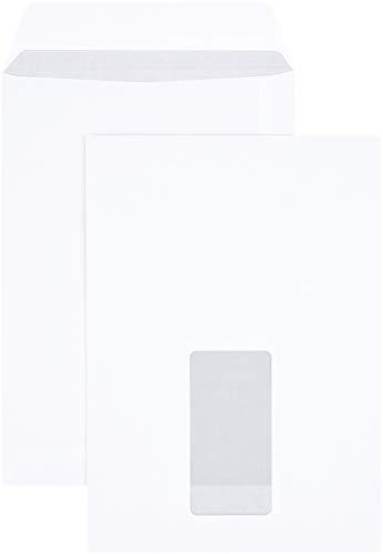 AmazonBasics - Versandtasche mit Sichtfenster, C5 (162x229 mm), Haftklebung, Weiß, 90 g/m², 500 Stück