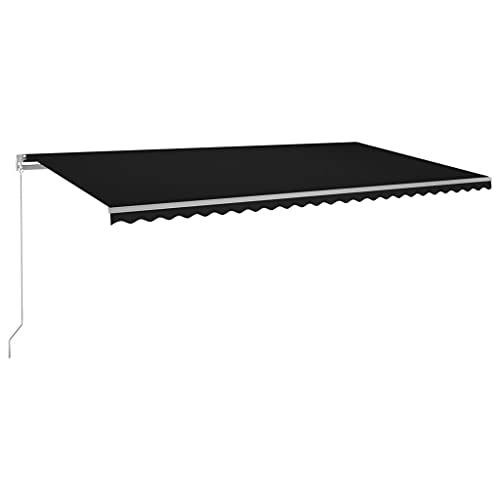 vidaXL Gelenkarmmarkise Einziehbar mit LED Markise Sonnenmarkise Balkonmarkise Sonnenschutz Sichtschutz Fenster Terrasse Garten 600x350cm Anthrazit