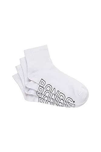 Bonds Men s Logo Light Quarter Crew Socks, White, Medium US
